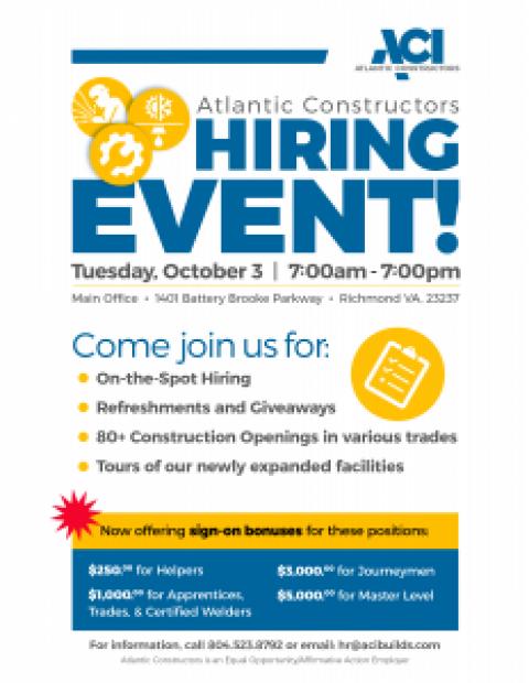 Atlantic Constructors Hiring Event – October 3