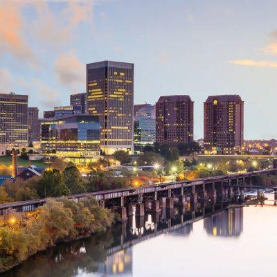 The Richmond, Virginia, skyline, as seen over the James River.