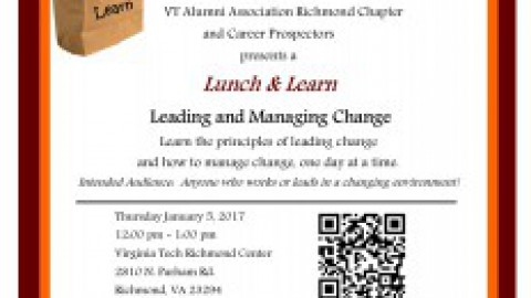 "Join VT Richmond Center for a Lunch and Learn ""Leading & Managing Change"" on 1/5"