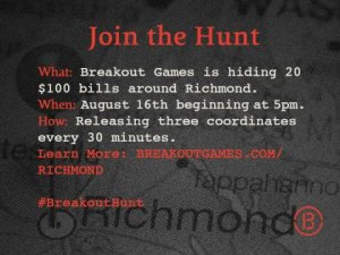 Breakout Games is hosting a Scavenger Hunt August 15th!